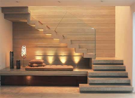 Resultado de imagem para Escada plissada com ambientes sob os degraus