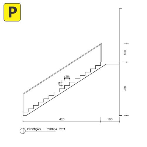 escada reta corte pedreirao