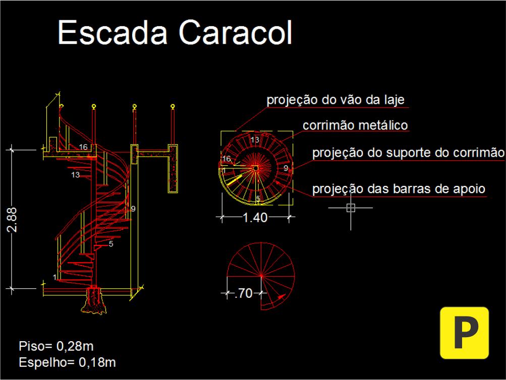 escada helicoidal caracol projeto pedreirao