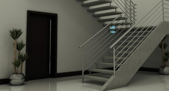 Resultado de imagem para Escada em U em concreto e com espelho vazado